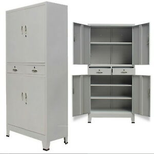 Image Is Loading Metal Storage Office Cabinet 4 Door Cupboard 2