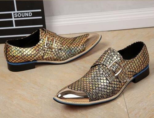 Mens Chic Work Leather Pointed Metal Toe Buckle Strap Gold Nightclub Dress Shoes
