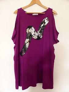 KALEIDIOSCOPE-Purple-Cold-Shoulder-Tunic-Top-Size-16
