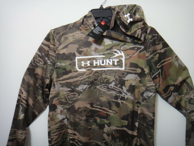 Under Armour Men Loose Fit Forest Camo Hunt Hoodie Polyester Size Medium