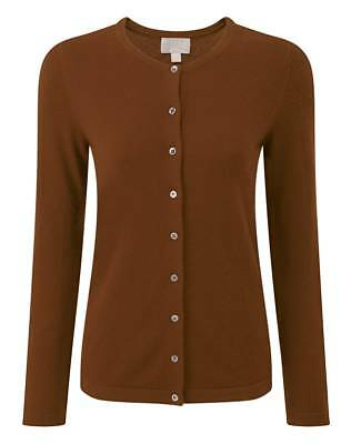 RRP £109 Pure Collection Cashmere Crew Neck Cardigan Rich Bronze