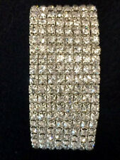8 Row Silver Rhinestone Crystal Cuff Bracelet Wedding Bouquet Fashion Jewelry