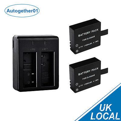 2x 1100mAh Battery +USB Dual Charger For SJCAM M10 SJ4000 SJ5000 SJ5000+ Wifi UK