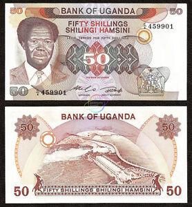 Uganda P-20 50 Shillings Year ND 1985 Uncirculated Banknote Africa