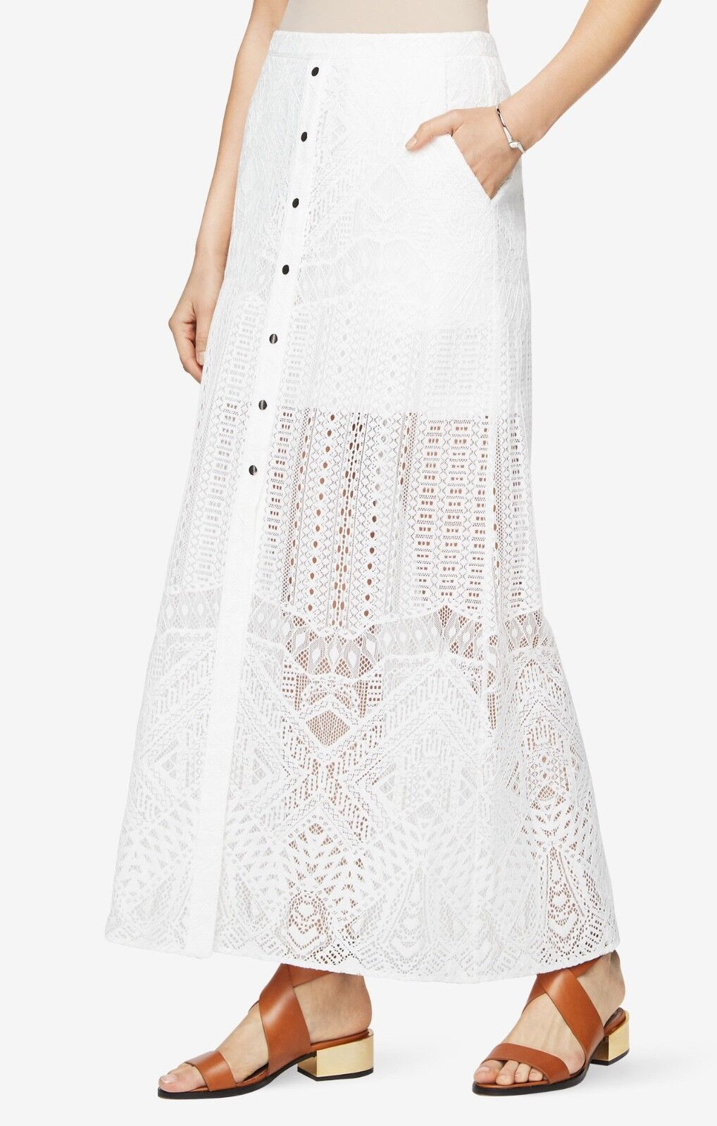 257 New Women's Bcbg Max azria Harper Lace Maxi Skirt SZ 0 =27 off White