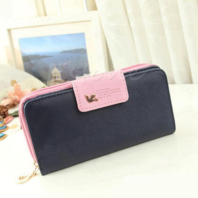 Classic Cute Women's Button Leather Faux Clutch Wallet Lady Purse Long Handbag