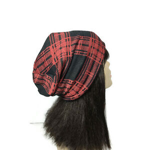 cbc09048f15ef Buffalo Plaid Slouchy Hat Men s Lumberjack Hat Unisex Red and Black ...