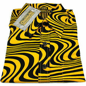 chemise homme chenaski ann es 60 70 jaune moutarde r tro ondes pop art ebay. Black Bedroom Furniture Sets. Home Design Ideas