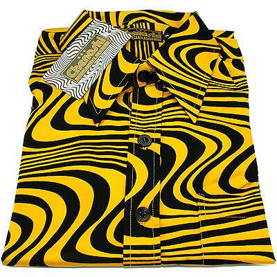 Chenaski Mens 60s 70s Mustard Yellow Retro Waves Psychedelic Pop Art Shirt VTG