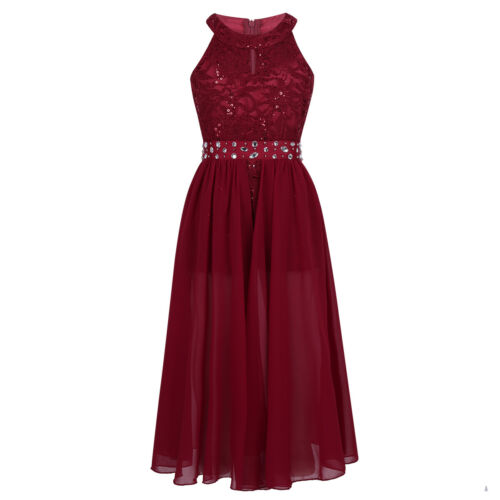 Girls Rhinestone Maxi Romper Dress Kid Pageant School Dance Birthday Party Dress