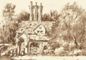 John A. Case - Contemporary Pen and Ink Drawing, Cottage Garden Study