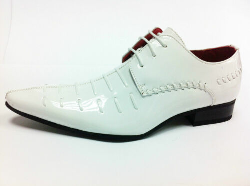 Lace Spats Mens Design Leather 12 Italian Up 6 Look Brogues Patent White Shoes W18ccqZ