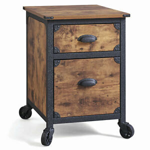 Rustic 2 Drawer File Cabinet Wood Metal Country Home Office Furniture
