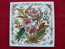 Antique Victorian Print & Tint Floral Tile Pink Red Blue Yellow & Green VGC