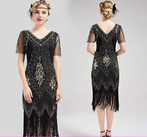 Details about 1920s Fancy Dress Vintage Sequin Great Gatsby Flapper Dress  Costume Plus Size 18