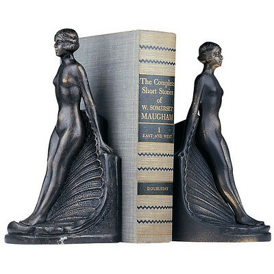 Nude Women On Seashell Bookends, Cast Iron Art Deco Naked Female Book Ends NEW