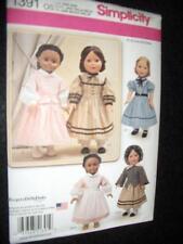 "18"" DOLL NEW Simplicity 1391 Pattern 5 Civil War Dresses Fits American Girl"