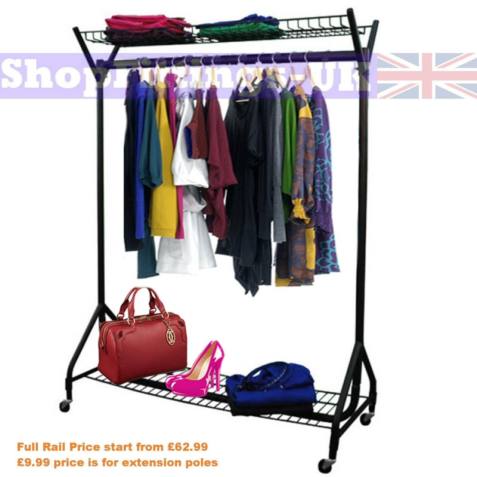 garment rack full hanging display black clothes faucet wall tb rod closet of size diy metal design mounted bar