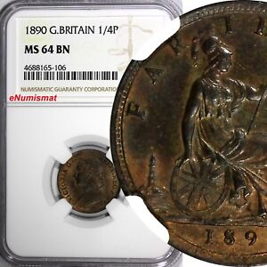 Great-Britain-Victoria-Bronze-1890-Farthing-NGC-MS64-BN-NICE-TONING-KM-753