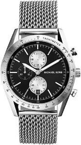 michael kors mk8387 accelerator chronograph silver tone black dial image is loading michael kors mk8387 accelerator chronograph silver tone black
