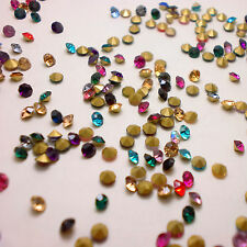 SS11 (2.8mm) Mixed Colors Rhinestones Point Back Chaton Crystal Glass 720ps U1