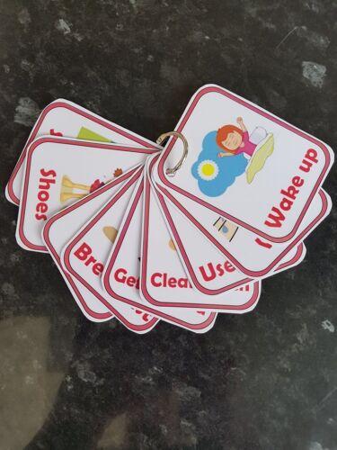 School morning routine set flashcards encourage independence SEN Autism ADHD