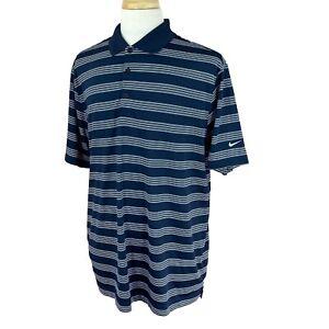 Nike-Golf-Men-039-s-Tour-Performance-Dri-Fit-Navy-Blue-Stripe-Polo-Shirt-XL