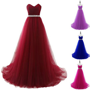 New Long Burgundy  Evening Prom Dresses Formal Gowns 2 4 6 8 10 12 14 16 18 20