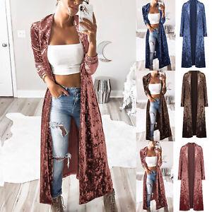 Women-Velvet-Long-Sleeve-Waterfall-Cardigan-Duster-Jacket-Coat-Overcoat-Tops
