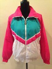 VTG Womens SKI LION Winter Snow Coat COLOR BLOCK Hot Pink Green White RETRO Sz L