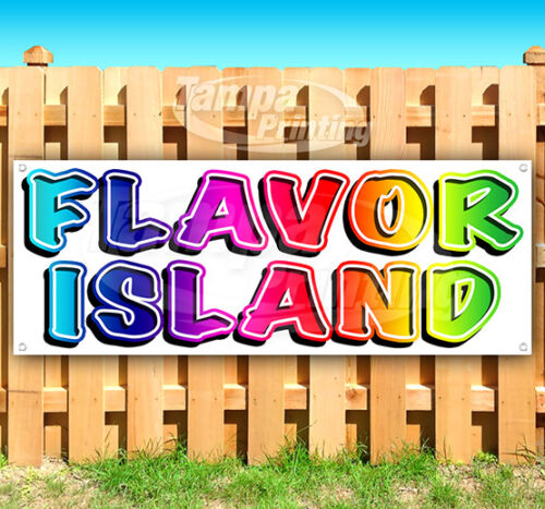 FLAVOR ISLAND Advertising Vinyl Banner Flag Sign Many Sizes SHAVED ICE USA