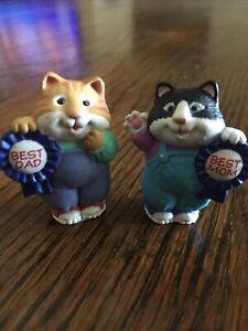 Hallmark Merry Miniatures 1991  BEST MOM & BEST DAD.  KITTENS /CATS
