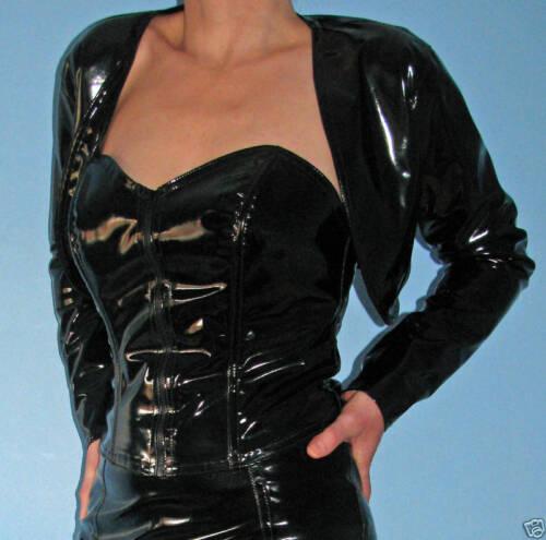 BNWT Shiny black pvc vinyl shrug jacket bolero all sizes made in the UK