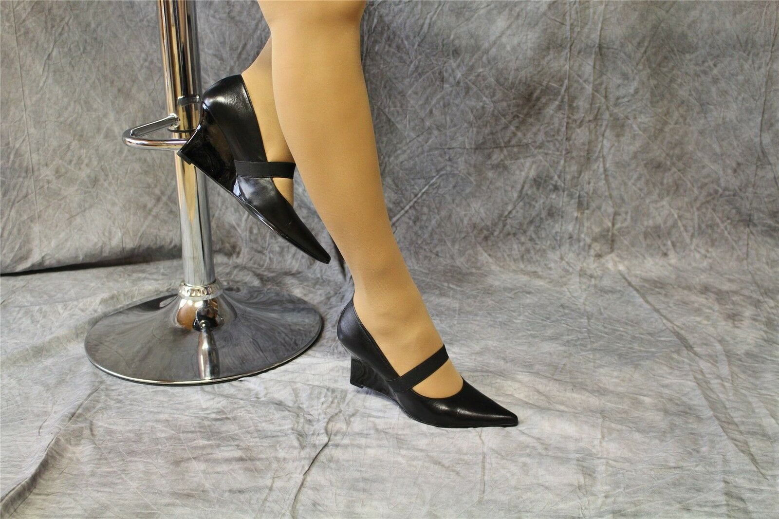 blacke Wedges Lederpumps mit extravagantem Lackabsatz