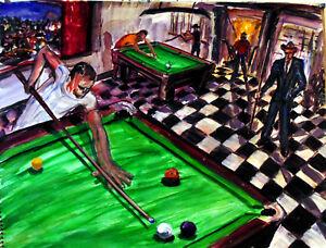 Original Pool Table Art Arthur Robins NYC Billiards POOL ROOM - Pool table nyc