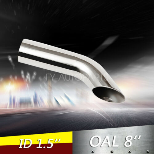 """1.5/"""" Polished Turn Down Exhaust Tip 1 1//2/"""" Inlet 8/"""" Long Stainless Steel"""