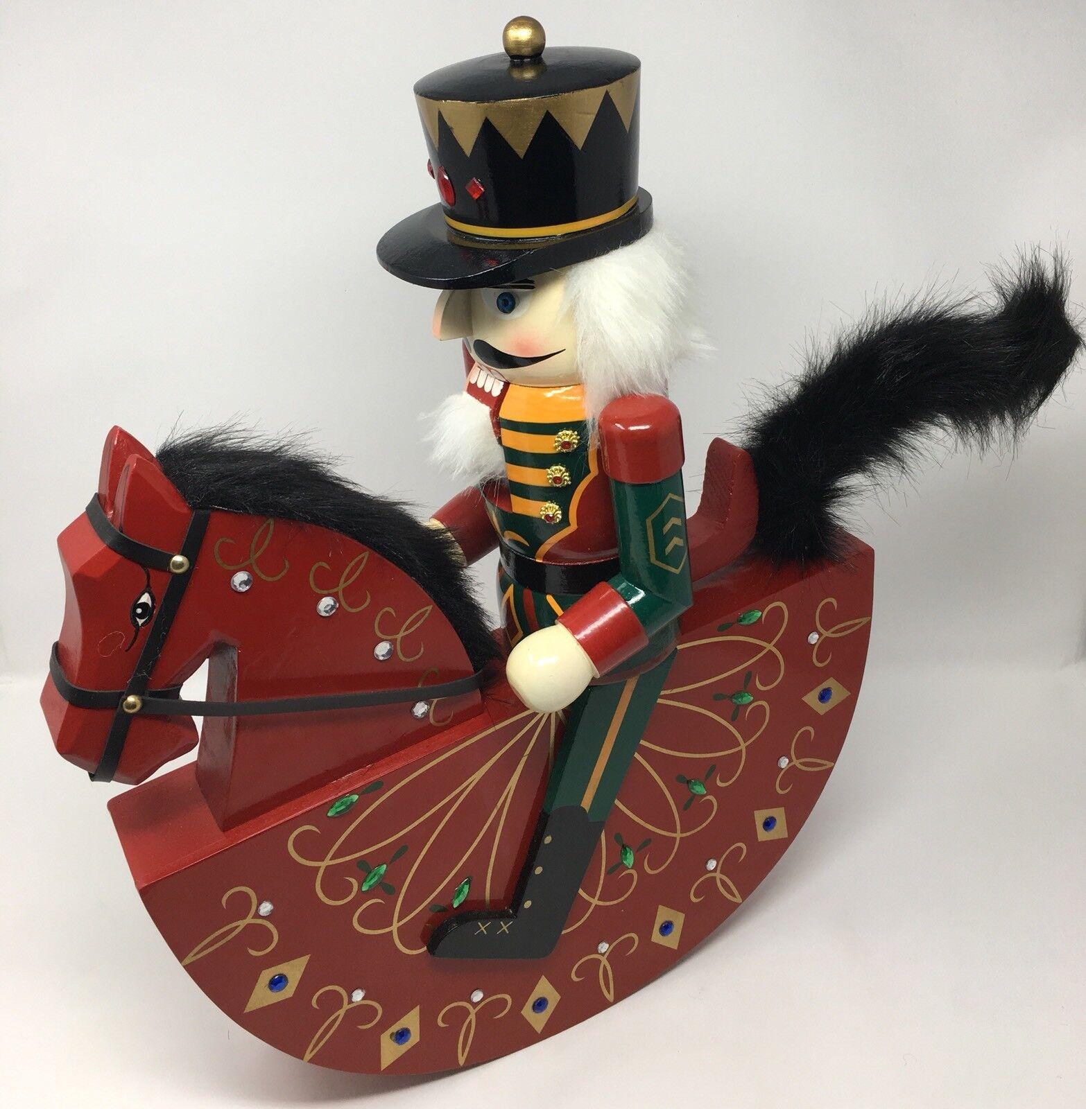 Grand style vintage en bois Cheval à bascule Casse-noisette Décoration de Noël