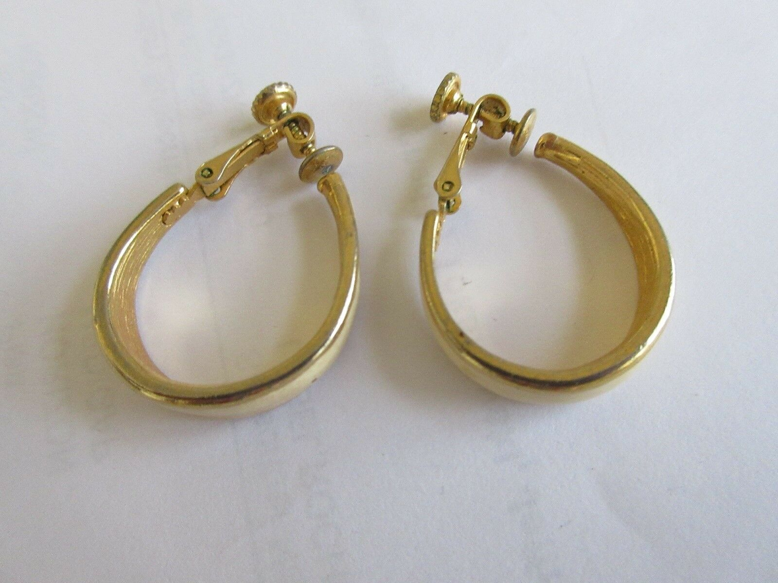 Ladies Earrings , Clip-On/ Screw Tight , White Enamel,