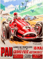 Pau 1959 Grand Prix Formula 1 - Formula 2 full colour vintage poster Large