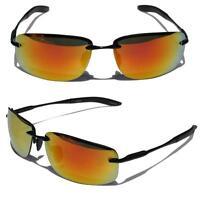 Rectangle Rimless Black Metal Frame Aviator Sunglasses Orange Fire Mirror Lens