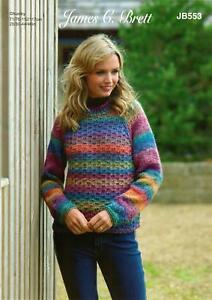 48d64d72a James C Brett JB553 Knitting Pattern Womens Sweater Jumper in Marble ...