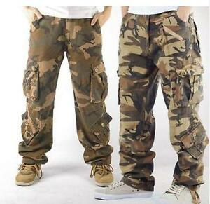 Men-039-s-military-camo-outdoor-casual-overalls-cargo-pants-loose-trousers-pockets