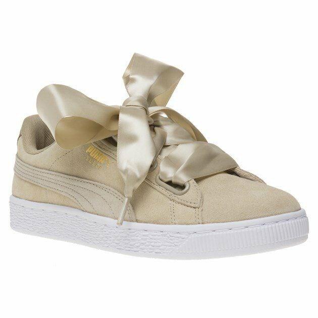 New femmes Puma Taupe Suede Heart Safari Trainers Court Lace Up