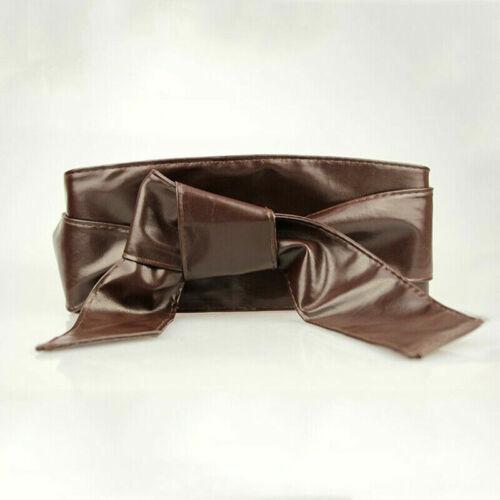 Ladies Womens Soft Leather Wrap Corset Waist Wide Long Belt Bow-Knot Waistband