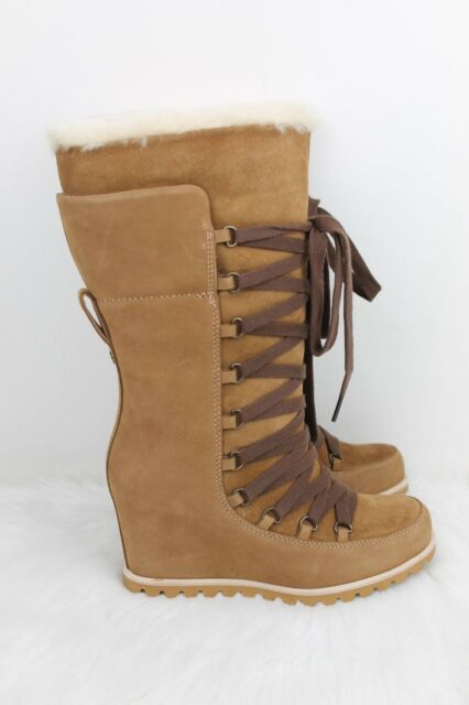 64776e05f60d UGG Mason Chestnut Suede Waterproof Tall Lace Wedge Women`s BOOTS Size 6