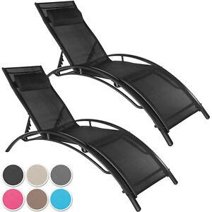2er Set Aluminium Sonnenliege Gartenliege Liegestuhl Strandliege Relaxliege Ebay