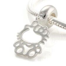 Hello Kitty-Openwork Cat-Solido 925 argento Sterling Charm Bead Europeo/Ciondolo