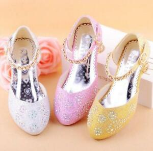 aab6863e4498 New Fashion Kids Girls Rhinestones Ankle Strap High Heels Princess ...