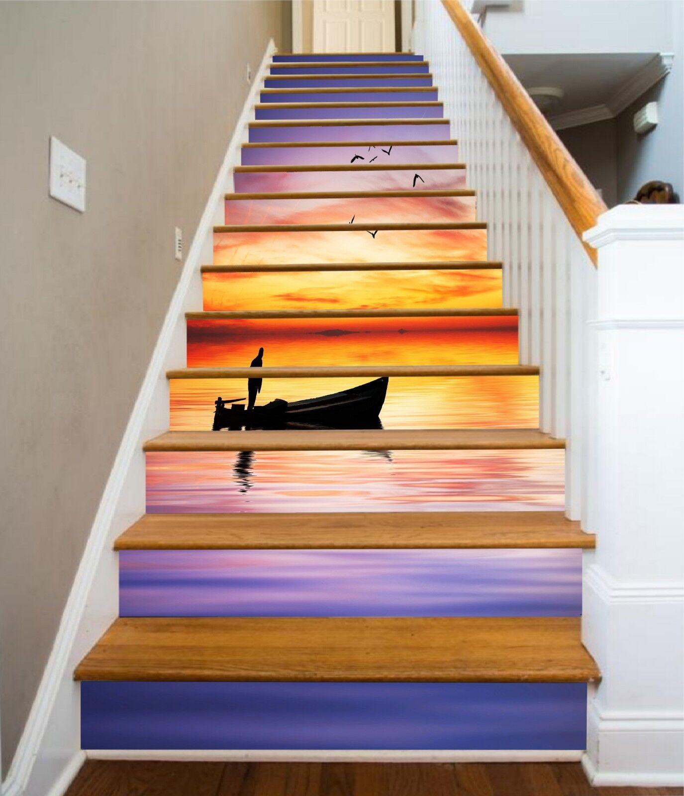 3D Boat Sunset Stair Risers Decoration Photo Mural Vinyl Decal WandPapier CA