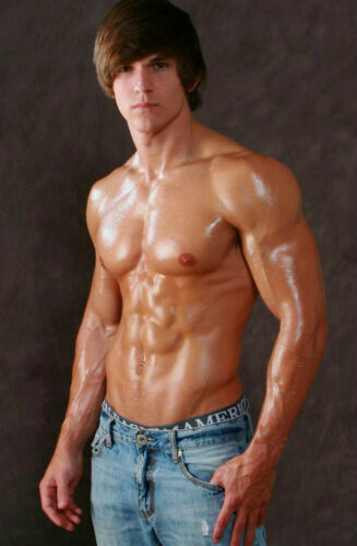 Shirtless Male Hot Muscular Hunk Beefcake Oiled Body Shaggy Hair PHOTO 4X6 P1914